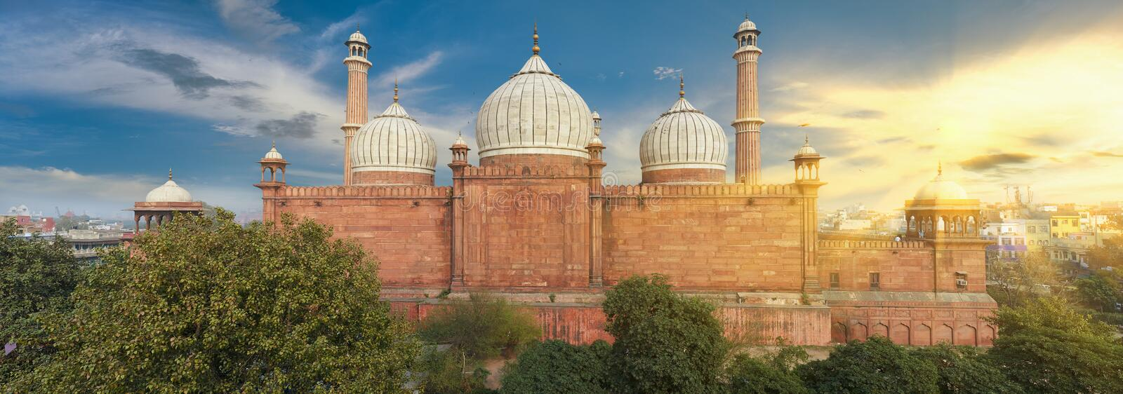 Jama Masjid Mosque, Old Delhi, India. An aerial view of the Jama Masjid mosque overlooking Old Delhi, India stock images