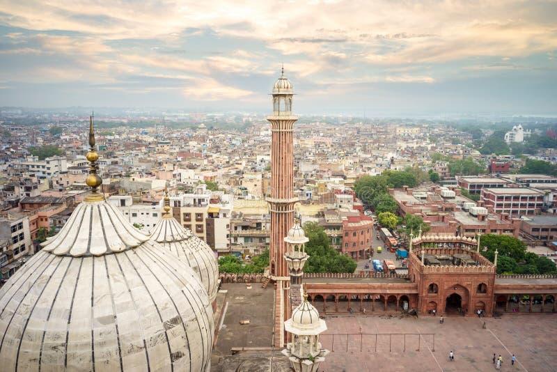 Jama masjid in new delhi. Aerial view of old delhi from roof of jama masjid stock photo