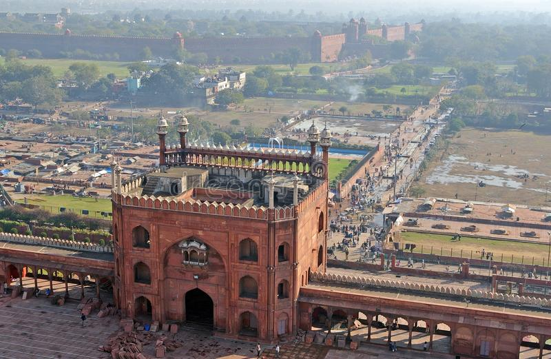 Jama Masjid und rotes Fort in Delhi lizenzfreies stockbild