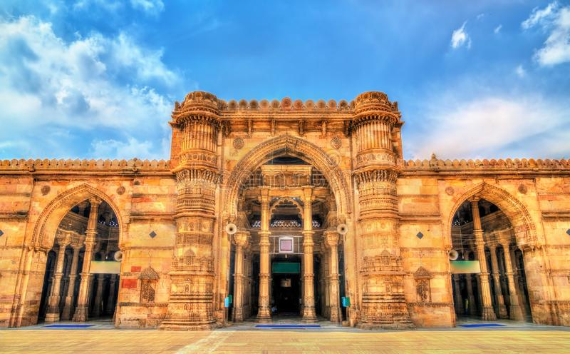 Jama Mosque, de schitterendste moskee van Ahmedabad - Gujarat, India stock afbeeldingen