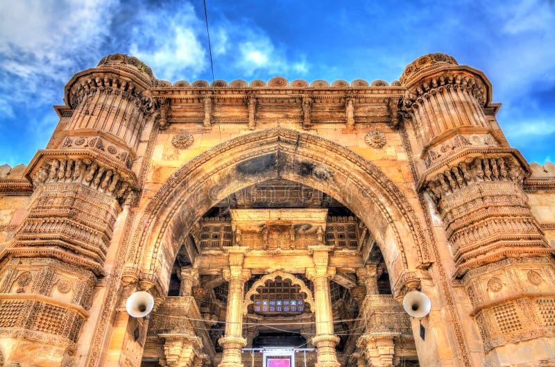 Jama Mosque, de schitterendste moskee van Ahmedabad - Gujarat, India stock foto