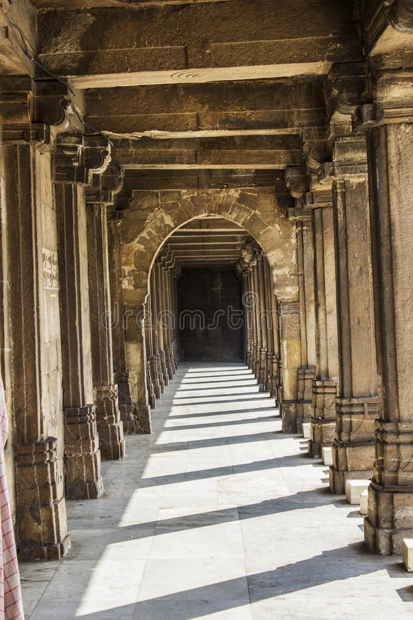 Jama Mosque - Piller and shadows. Lying opposite to Mahatma Gandhi Road, on the eastern side of Teen Darwaza, Jama Masjid is one of the most splendid mosques of royalty free stock photo