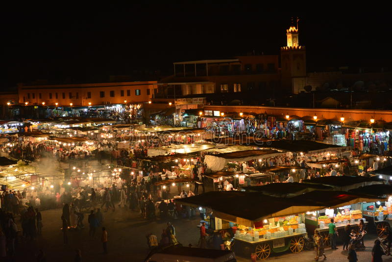 Jamaa el fna马拉喀什,摩洛哥 库存照片