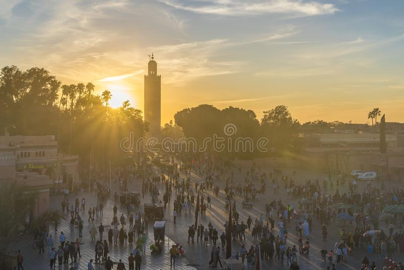 Jamaa el Fna market square in sunset light royalty free stock photos