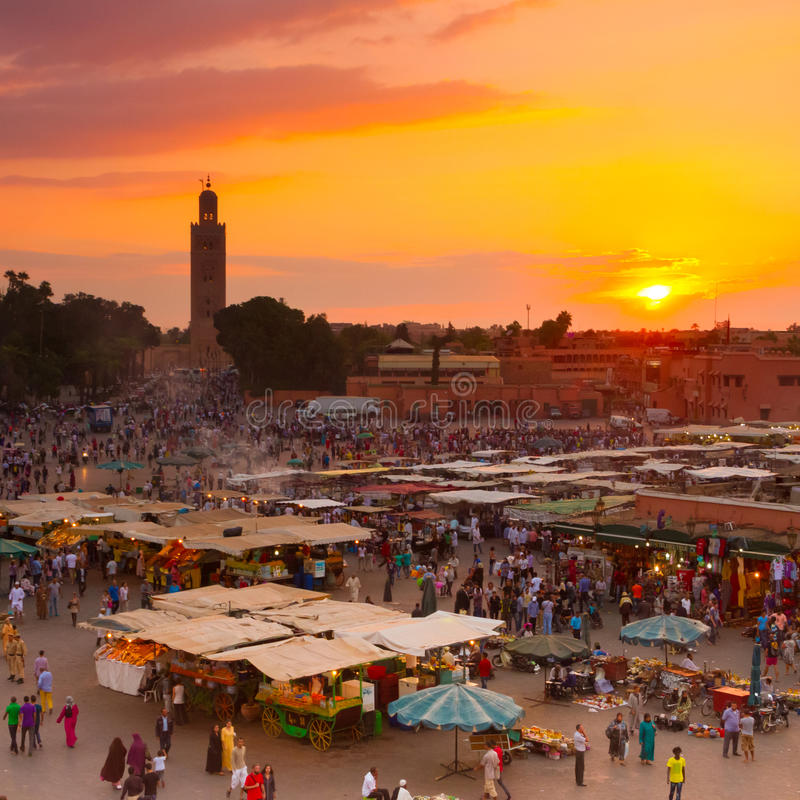 Jamaa el Fna, Marrakesh, Morocco. royalty free stock photography