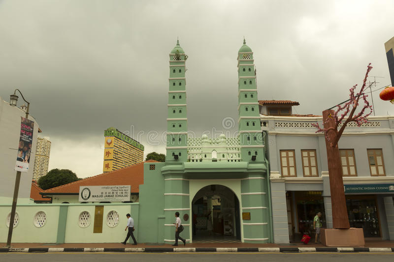 Jamae Mosque in Singapore. Masjid Jamae or Jamae Mosque is one of the earliest mosques in Singapore, and is located on South Bridge Road in the Chinatown royalty free stock photos