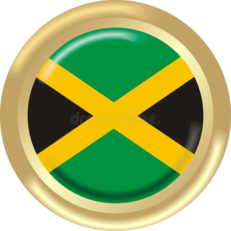 Jamaica. Art illustration: round medal with flag of jamaica royalty free illustration