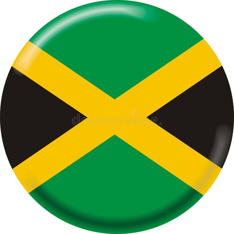 Jamaica. Art illustration: round medal with flag of jamaica stock illustration