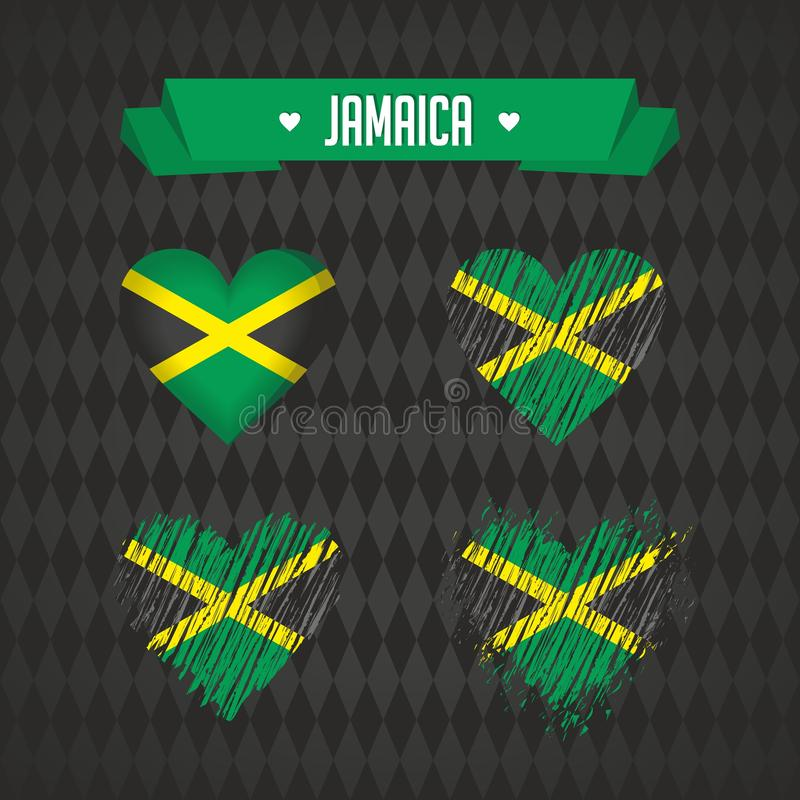 Jamaica. Collection of four vector hearts with flag. Heart silhouette. Jamaica with love. Graphic design heart with map inside, modern vector design vector illustration