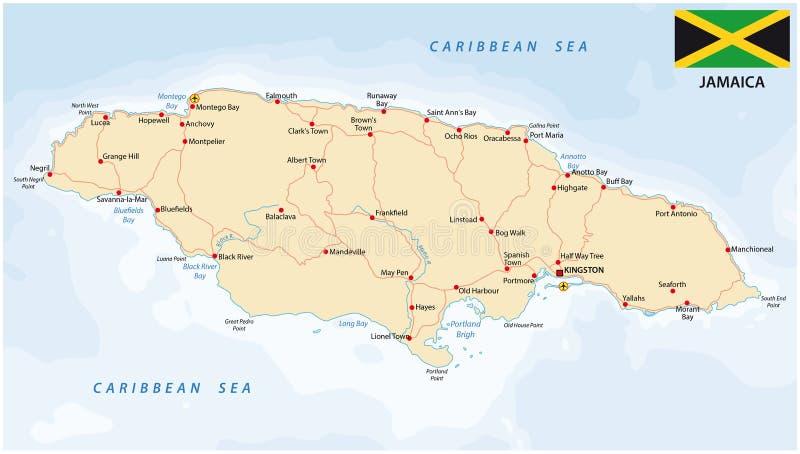 Jamaica färdplan med flaggan royaltyfri illustrationer