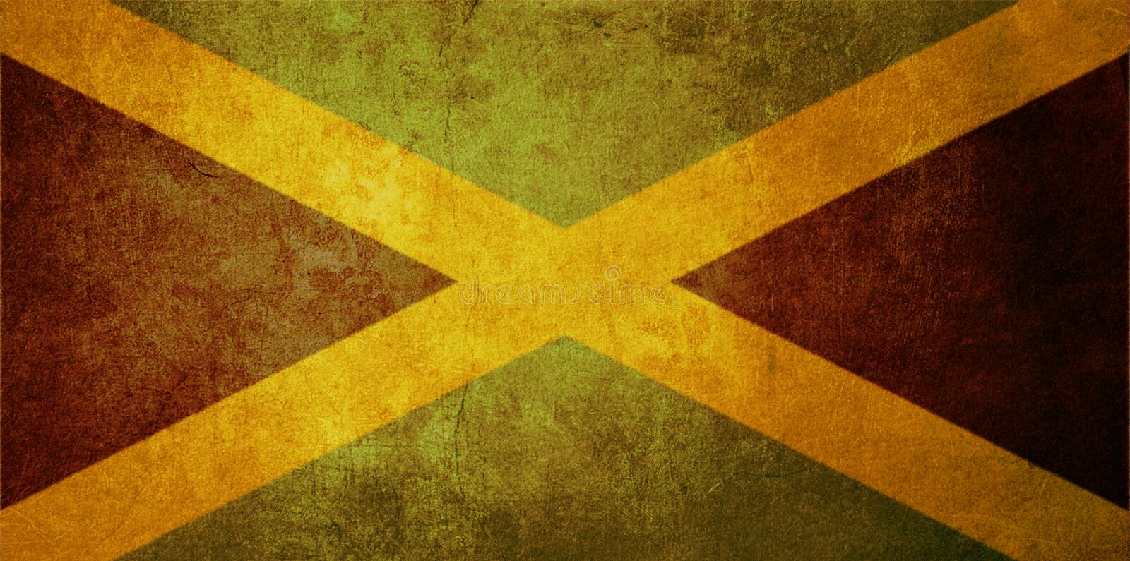 Jamaica flag. With old texture grunge and vintage vector illustration