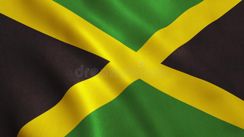 Jamaica Flag. Background with fabric texture. 3D illustration vector illustration