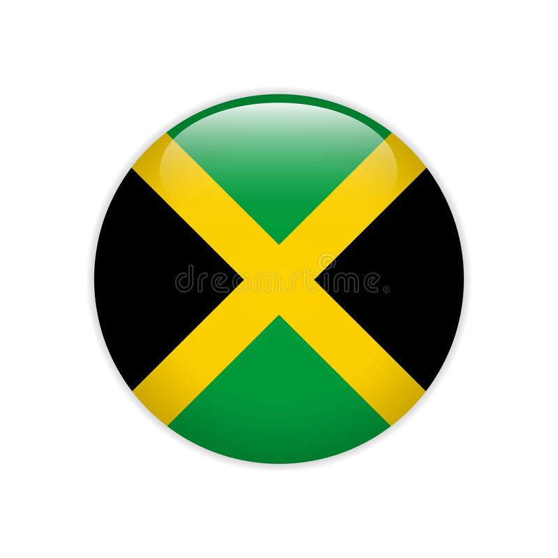 Jamaica flag on button. Signs and Symbols stock illustration