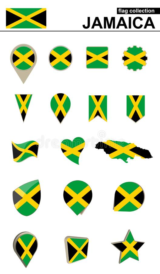 Jamaica Flag Collection. Big set for design. Vector Illustration stock illustration