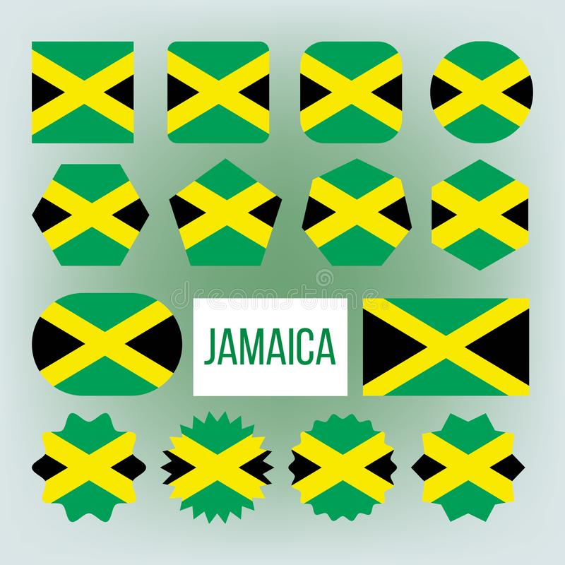 Jamaica Flag Collection Figure Icons Set Vector. Yellow, Green And Black Color Of National Patriotic Symbol Jamaica Democracy Liberty Freedom Island Country vector illustration