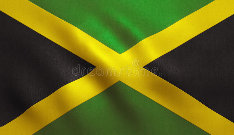 Jamaica Flag. With fabric texture. 3D illustration stock illustration