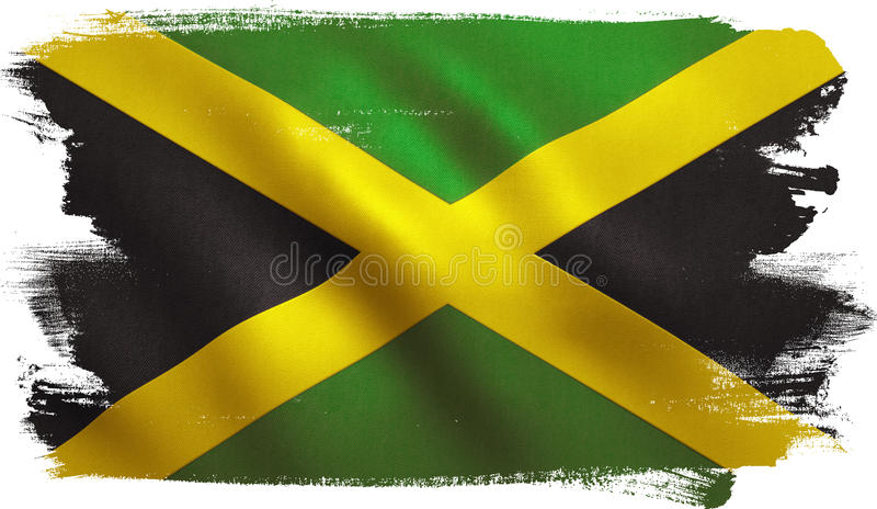 Jamaica Flag. With fabric texture. 3D illustration royalty free illustration