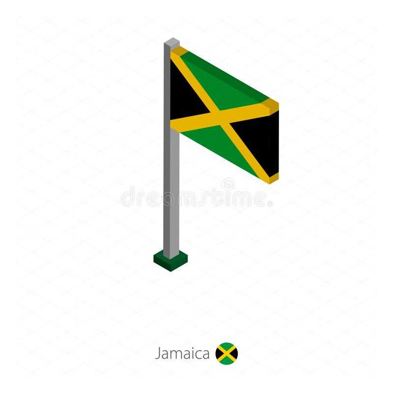 Jamaica Flag on Flagpole in Isometric dimension. Isometric blue background. Vector illustration stock illustration