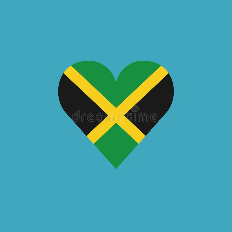 Jamaica flag icon in a heart shape in flat design. Independence day or National day holiday concept stock illustration