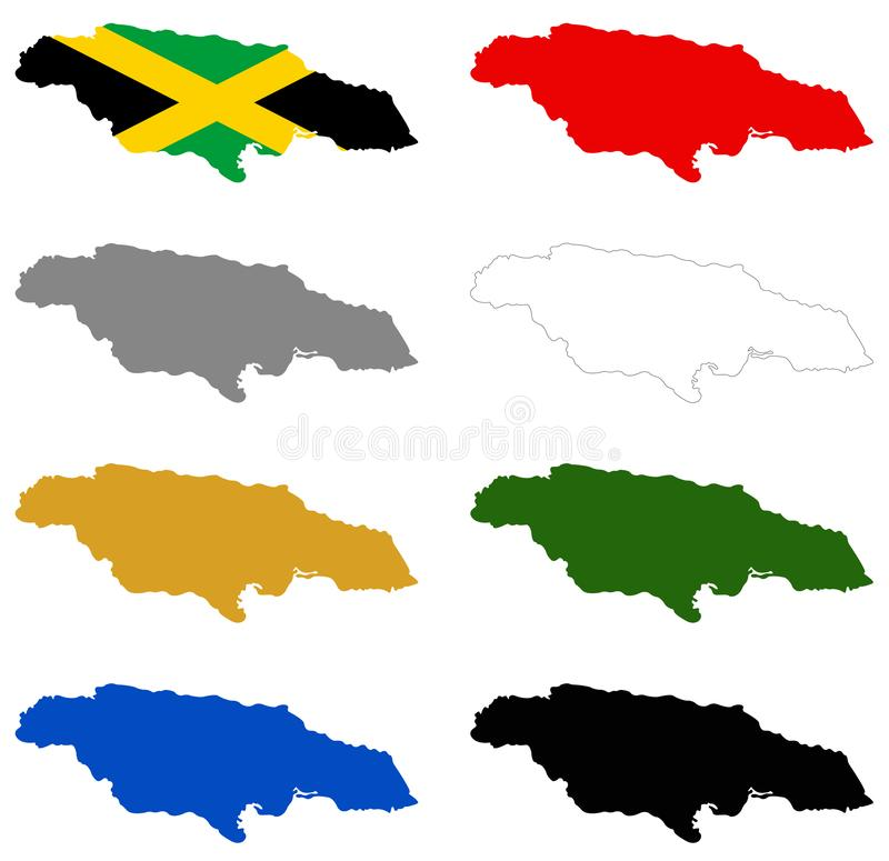 Jamaica flag and map - island country situated in the Caribbean Sea royalty free illustration
