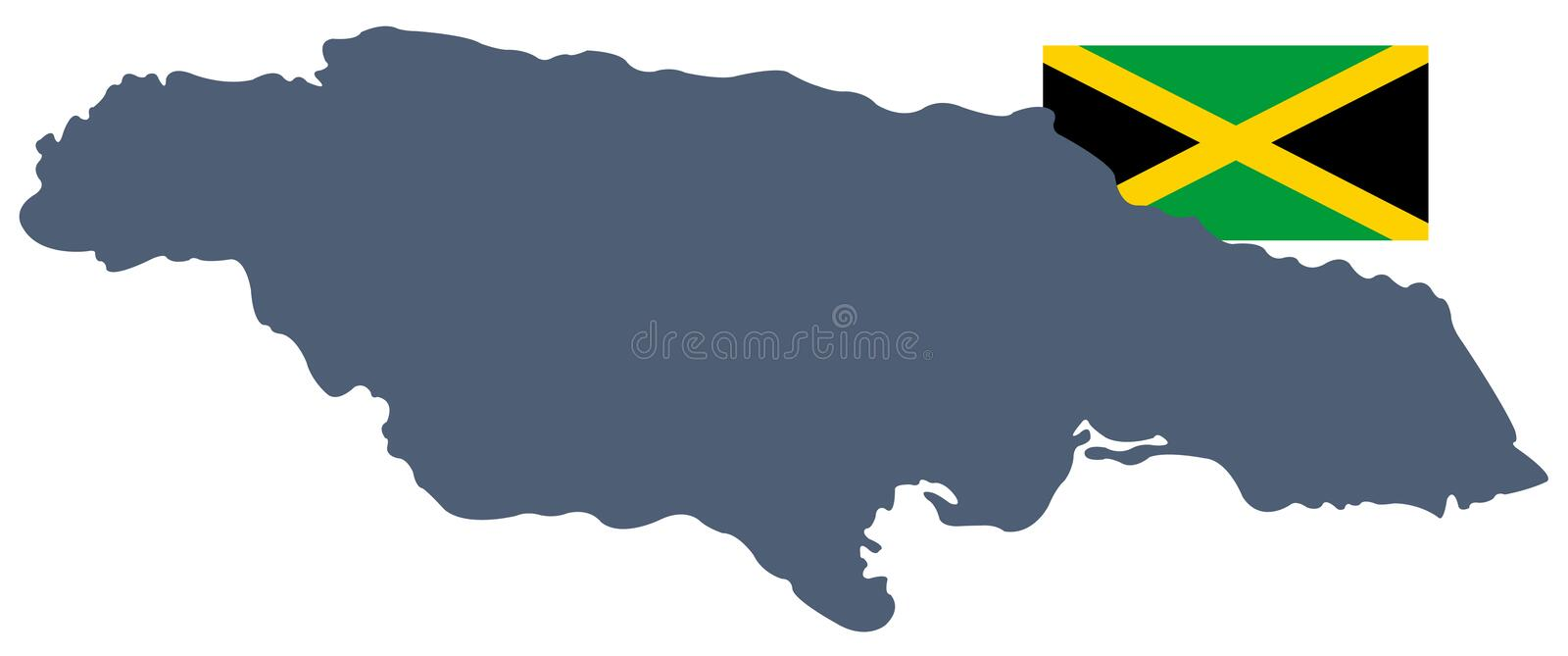 Jamaica flag and map - island country situated in the Caribbean Sea vector illustration