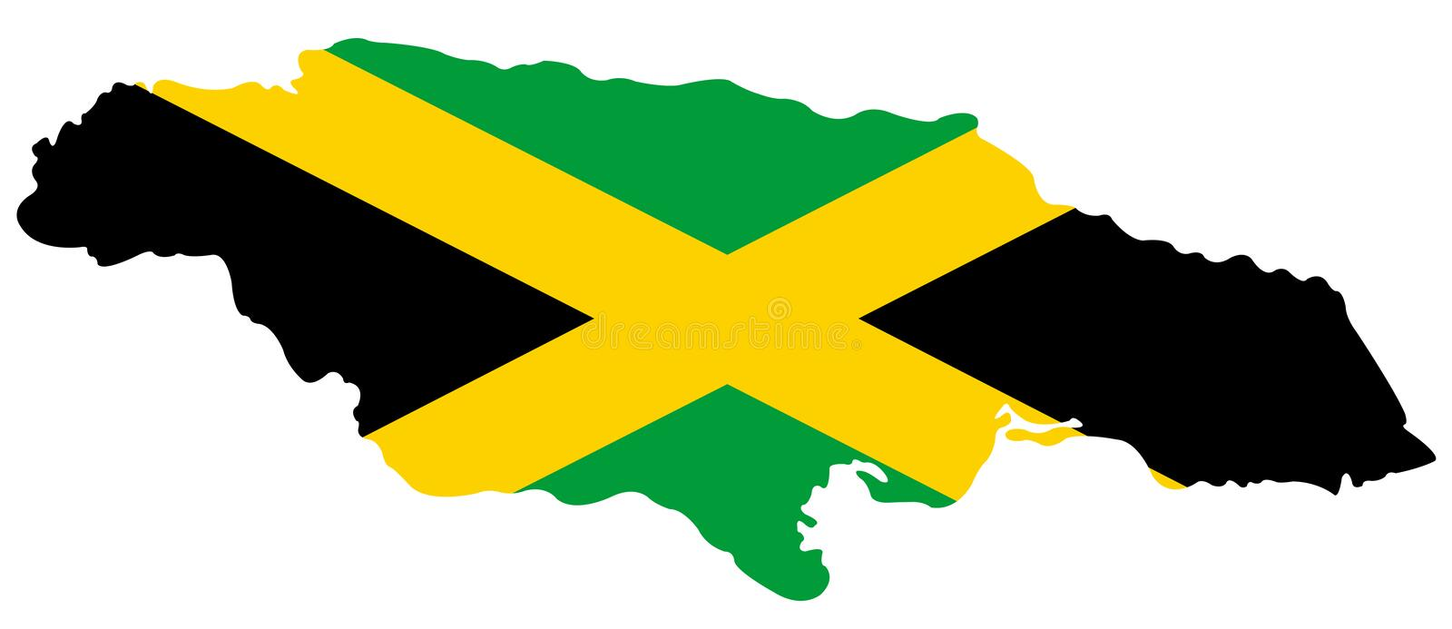 Jamaica flag and map - island country situated in the Caribbean Sea. Vector file of Jamaica flag and map - island country situated in the Caribbean Sea stock illustration