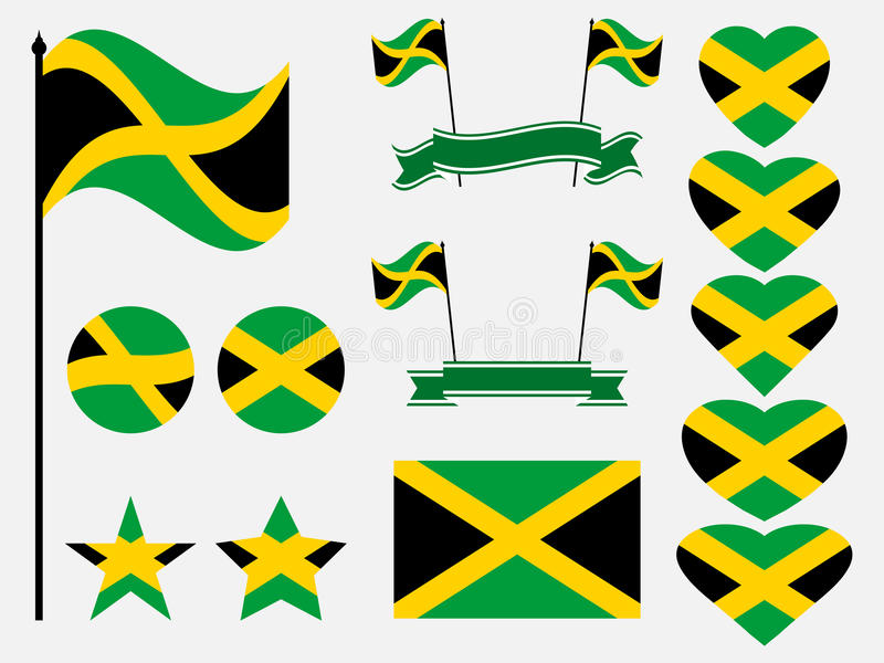Jamaica flag set symbols, flag in heart. Vector. Illustration vector illustration