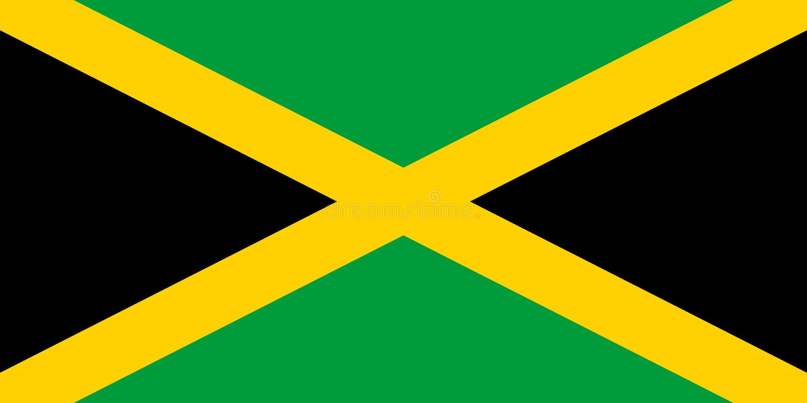 Jamaica flag vector illustration. Accurate proportions and colors stock illustration