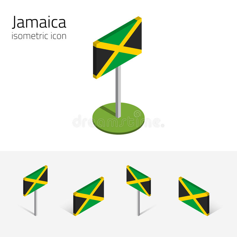 Jamaica flag, vector set of 3D isometric icons. Jamaica flag, vector set of isometric flat icons, 3D style, different views. 100% editable design elements for royalty free illustration