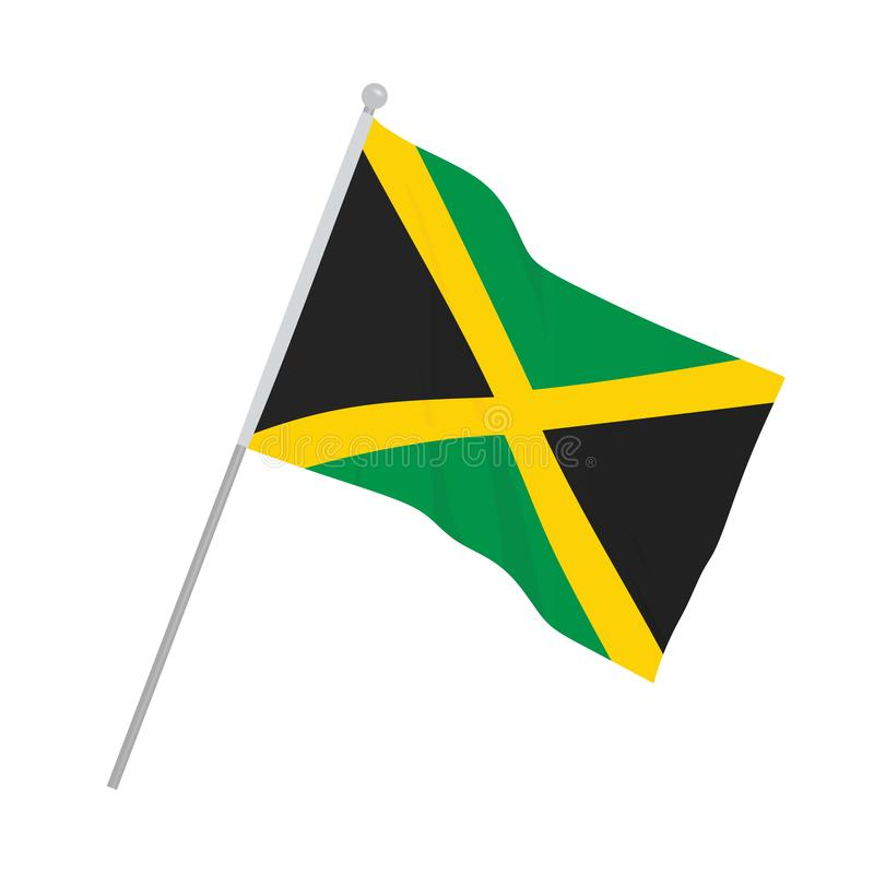 Jamaica flag on white background. Vector illustration stock illustration