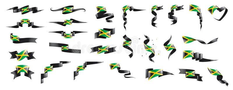 Jamaica flagga, vektorillustration p? en vit bakgrund royaltyfri illustrationer