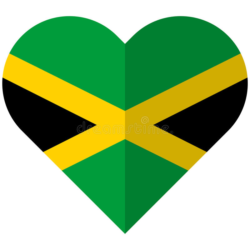 Jamaica flat heart flag. Vector image of the Jamaica flat heart flag stock illustration