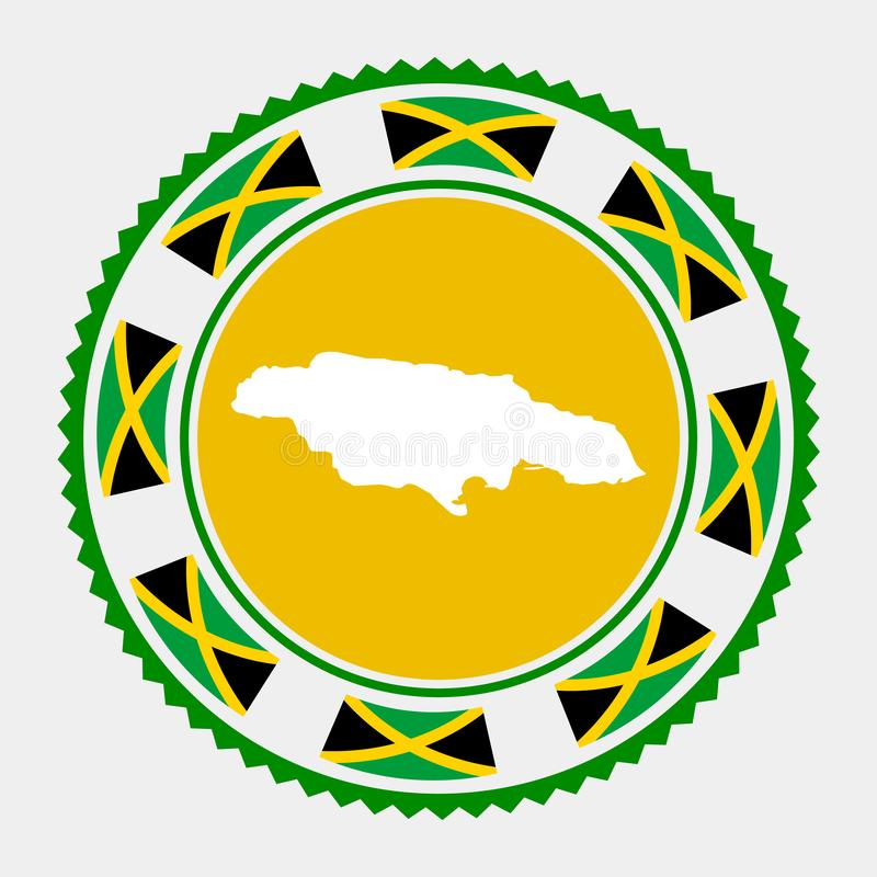 Jamaica flat stamp. Round logo with map and flag of Jamaica. Vector illustration stock illustration