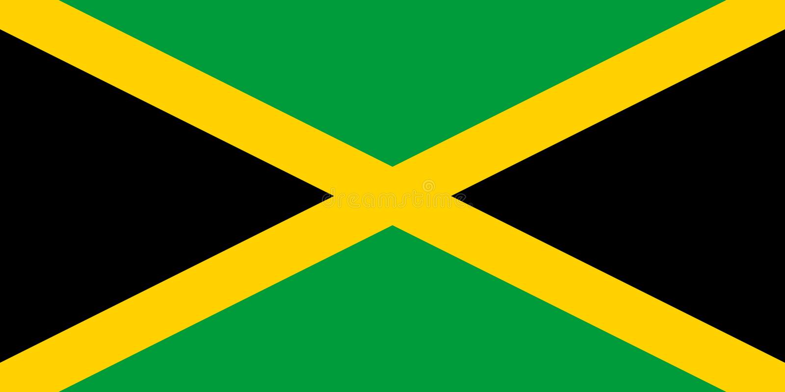 Jamaica flag in official colors and with aspect ratio of 1:2. Jamaica flag sign. Jamaica flag in official colors and with aspect ratio of 1:2. Vector royalty free illustration