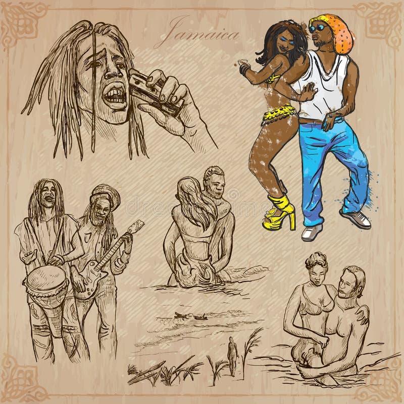 Jamaica lopp - en hand dragen vektorpacke stock illustrationer