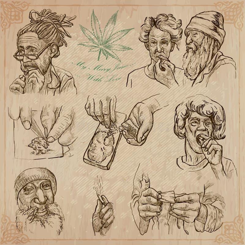 Jamaica lopp - en hand dragen vektorpacke vektor illustrationer
