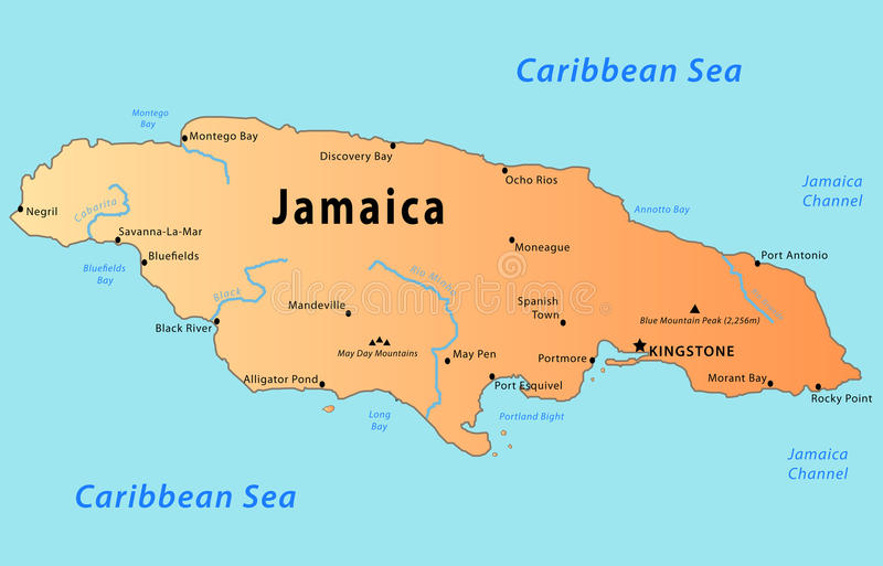 Jamaica map. Illustration of a detailed political map of Jamaica, with its main cities, mountains and rivers