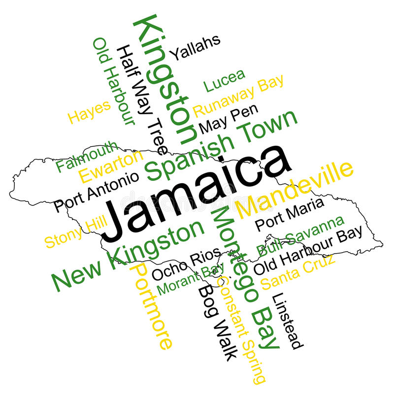 Jamaica Map and Cities. Jamaica map and words cloud with larger cities