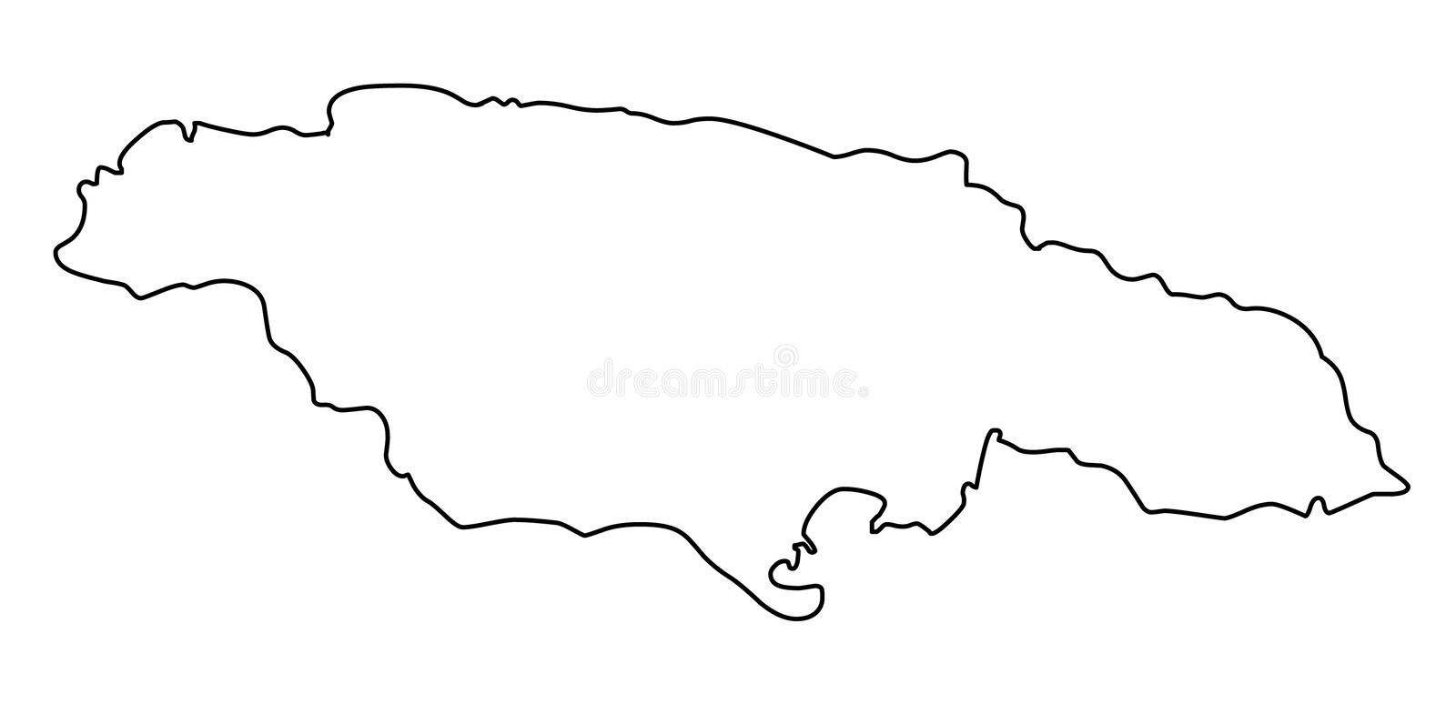Jamaica map outline vector illustration. Isolated on white background vector illustration