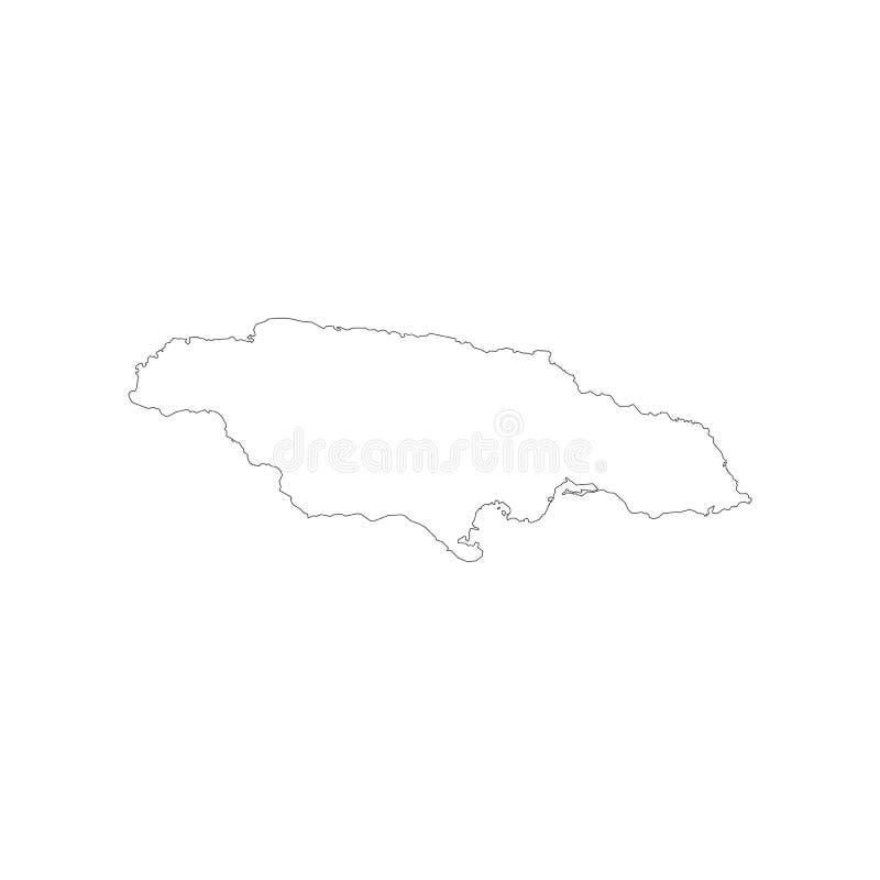 Jamaica map outline. On the white background. Vector illustration stock illustration