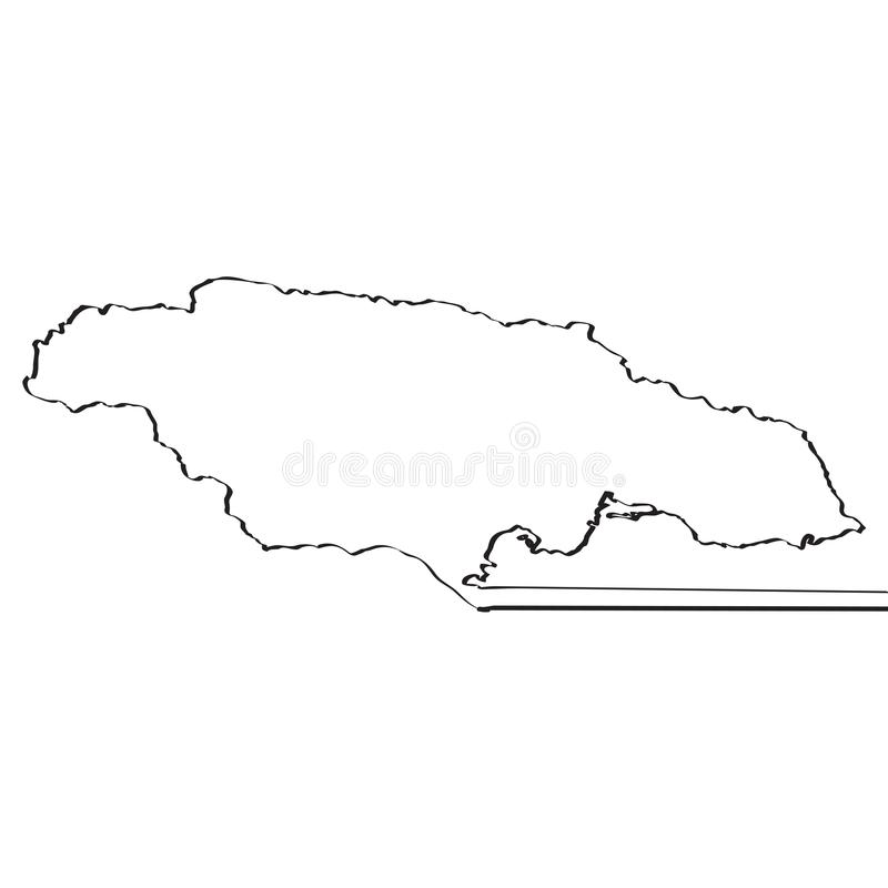 jamaica mapa Ciągła linia royalty ilustracja
