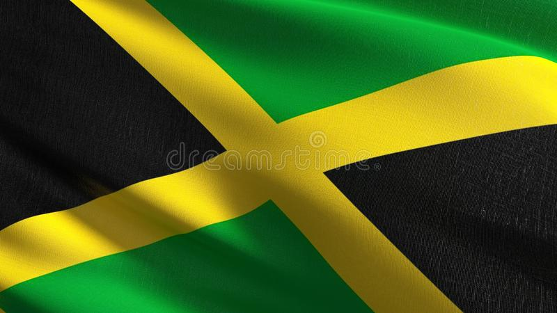 Jamaica national flag blowing in the wind . Official patriotic abstract design. 3D rendering illustration of waving sign. Symbol stock illustration