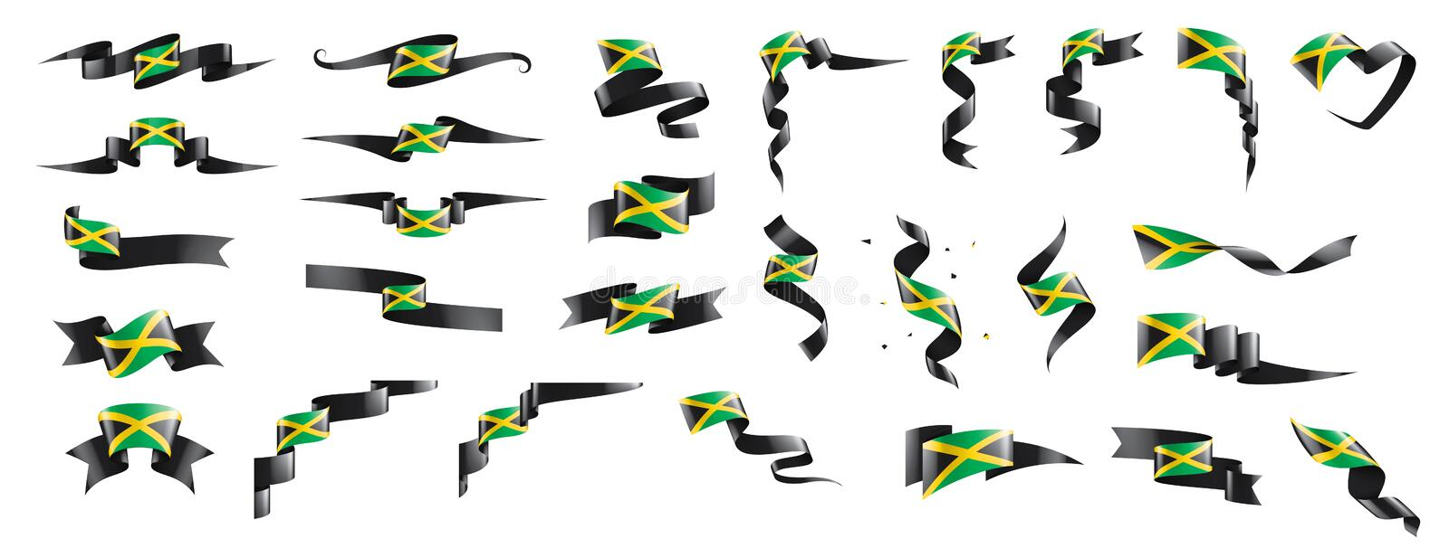 Jamaica flag, vector illustration on a white background. Jamaica national flag, vector illustration on a white background royalty free illustration