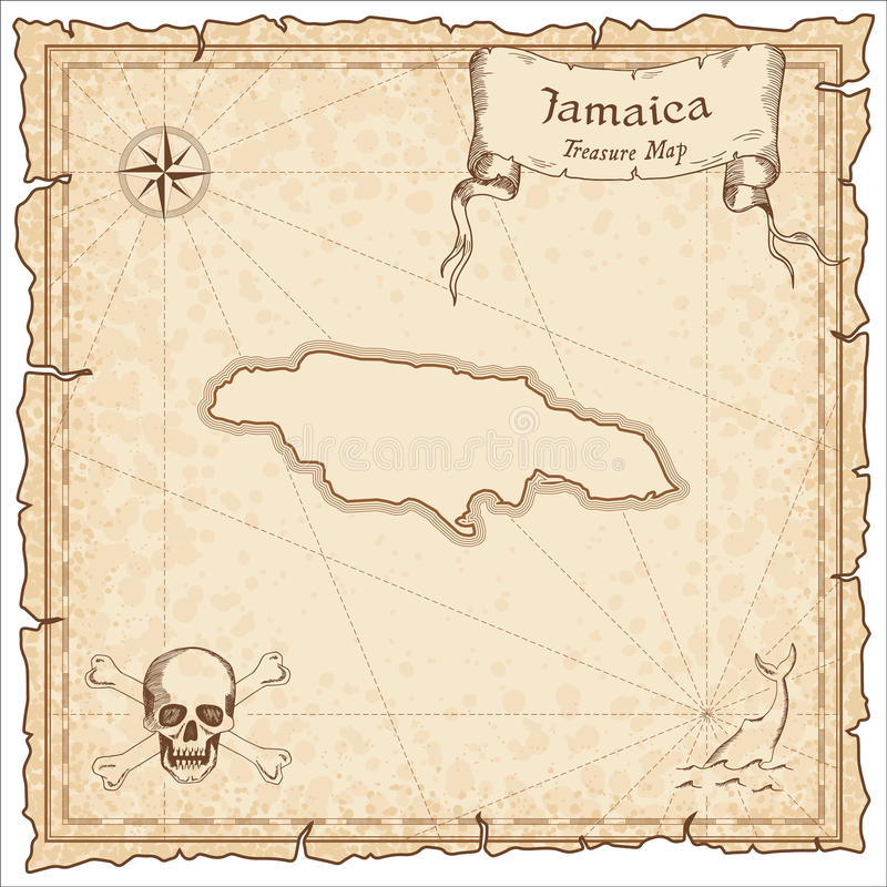 Jamaica Old Pirate Map Stock Vector Illustration Of Jamaica - Vintage map of jamaica