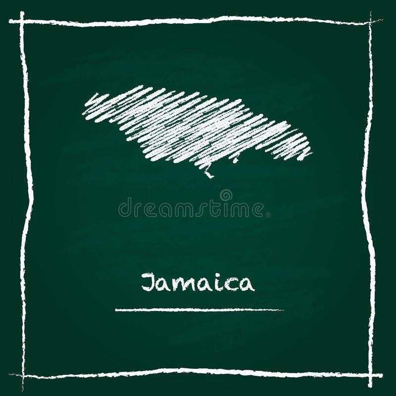 Jamaica outline vector map hand drawn with chalk. Jamaica outline vector map hand drawn with chalk on a green blackboard. Chalkboard scribble in childish style royalty free illustration