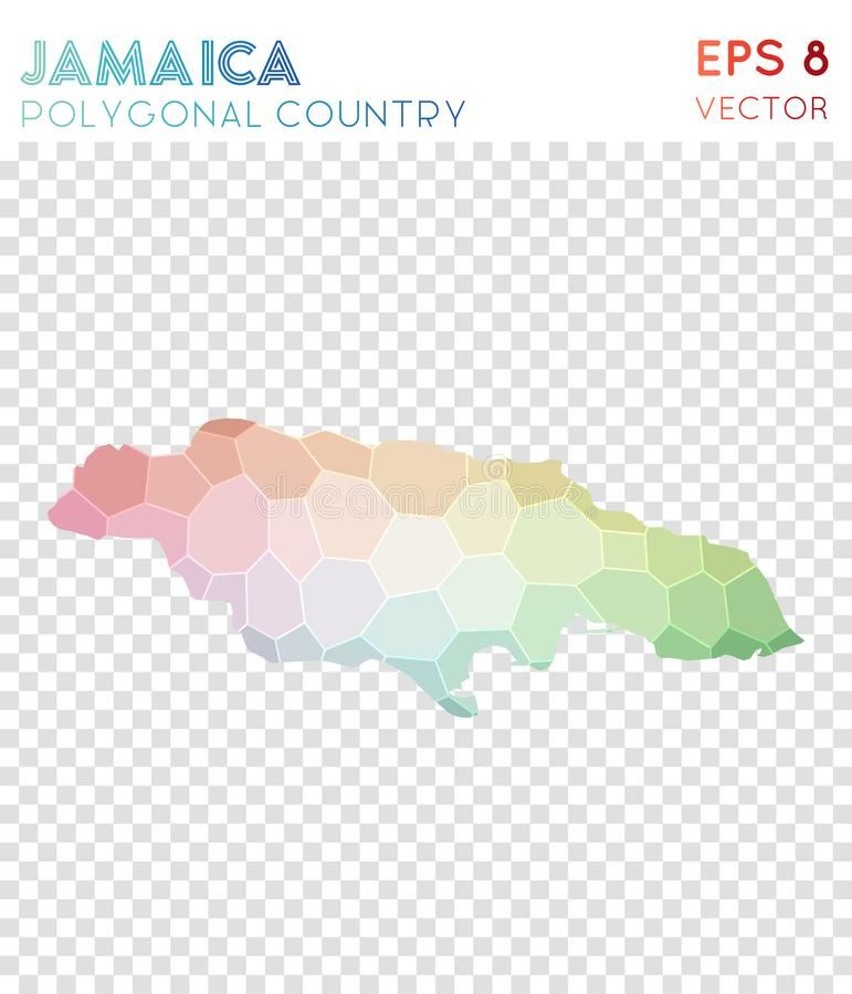 Jamaica polygonal map, mosaic style country. Modern low poly style, modern design. Jamaica polygonal map for infographics or presentation stock illustration