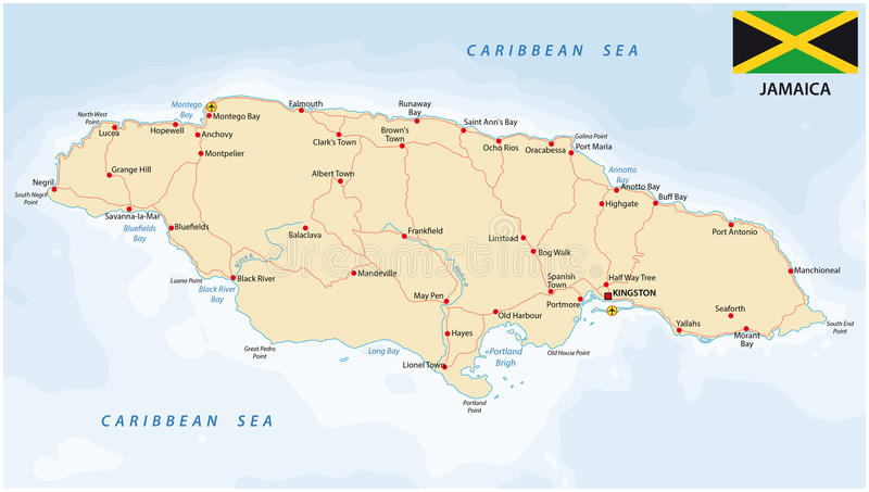 Jamaica road map with flag royalty free illustration