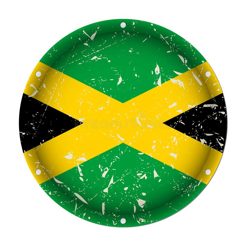 Jamaica - round metal scratched flag, screw holes. Jamaica - round metallic scratched flag with six screw holes in front of a white background royalty free illustration
