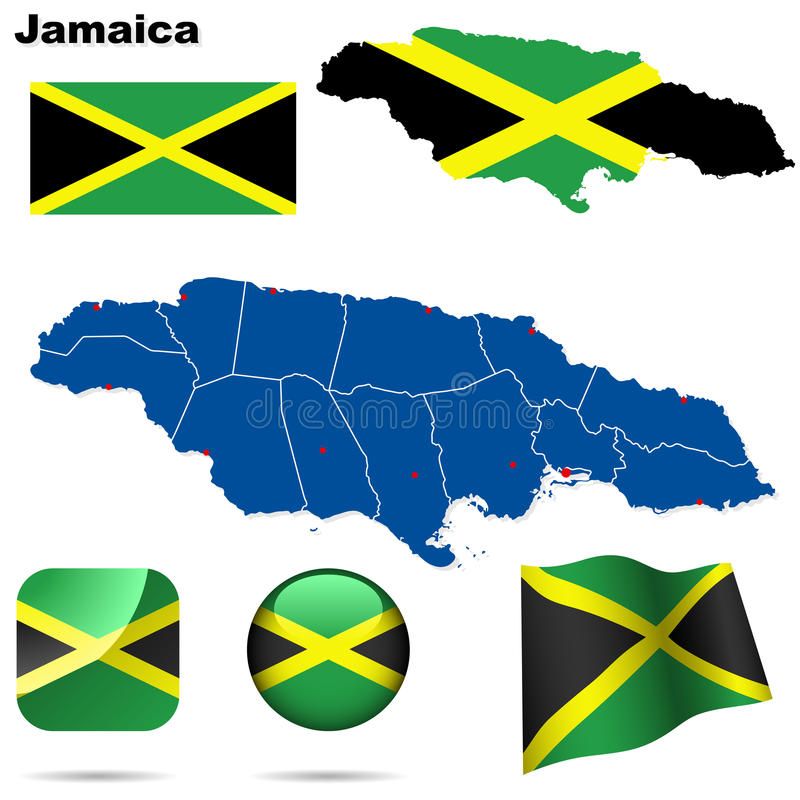 Jamaica set. stock illustration