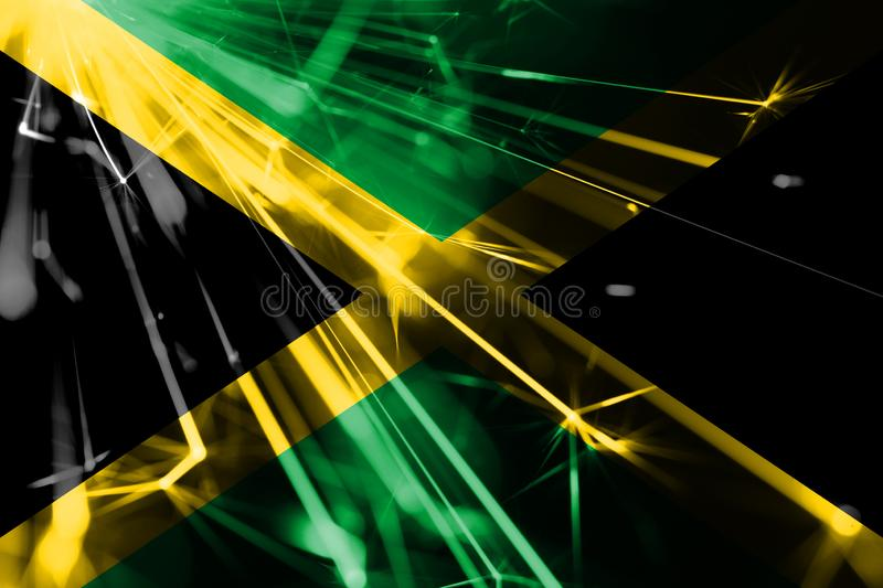 Jamaica shining fireworks sparkling flag. New Year 2019 and Christmas futuristic shiny party concept flag. Jamaica shining fireworks sparkling flag. New Year royalty free illustration